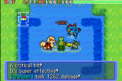 Pokemon Mystery Dungeon - Red Rescue Team - Battle  - 999 red font! max damage - User Screenshot
