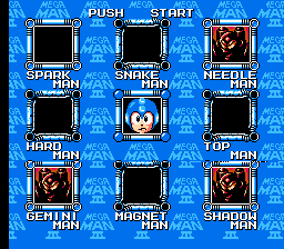 Mega Man 3 - Level Select  - just beated Metalman and Quickman... - User Screenshot