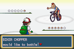 Pokemon Ash Gray (beta 3.61) - Battle  - So threatening on your bicycle XD - User Screenshot