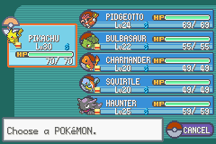 Pokemon Ash Gray (beta 3.61) - Menus Pokemon Team -  - User Screenshot