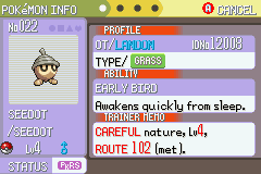 Pokemon Burning Ruby - Misc Pokerus. - My Seedot with Pokerus. - User Screenshot
