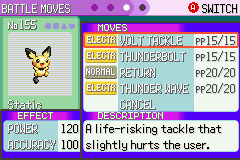 Pokemon Emerald - Character Profile Pichu - Static! The Volt Tackling Pichu! :D - User Screenshot