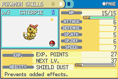 Pokemon Ash Gray (beta 2.5z) - Shiny Caterpie - User Screenshot