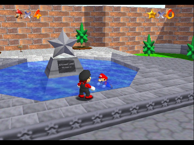 Super Mario 64 - Multiplayer - Cut-Scene  - Red Mario: Can we swim? - User Screenshot