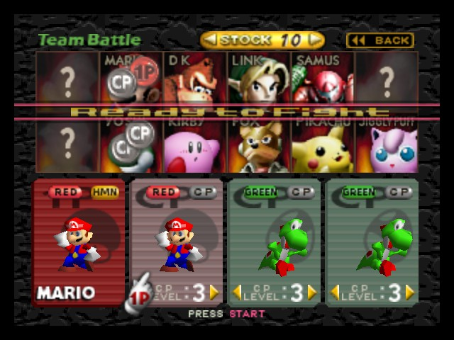 Super Smash Bros. - Character Select  - Twin Marios and twin Yoshis. - User Screenshot