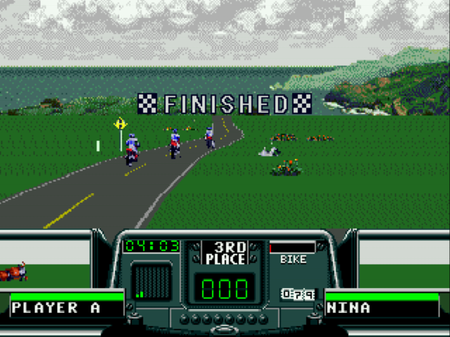 Road Rash 3 - Level  - Crashing into 3rd place - User Screenshot