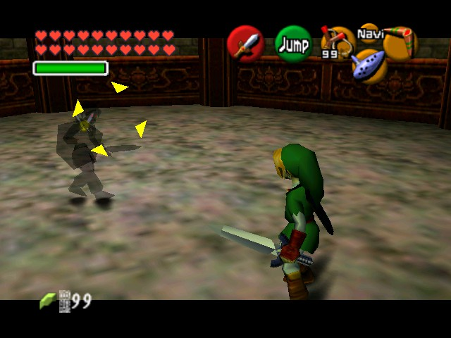 The Legend of Zelda - Ocarina of Time (Debug Edition) - Battle  - Dark Link gives up - User Screenshot