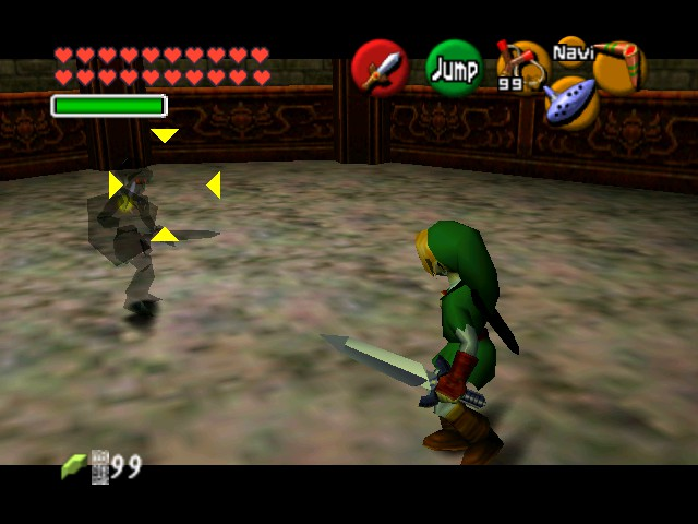 The Legend of Zelda - Ocarina of Time (Debug Edition) - Battle  - A wild Dark Link re-appeared - User Screenshot