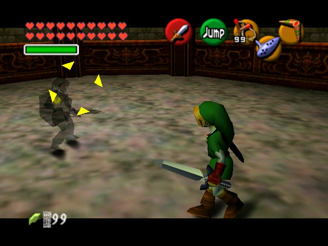The Legend of Zelda - Ocarina of Time (Debug Edition) - Battle  - Link Vs. Dark Link - User Screenshot