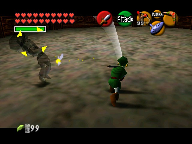The Legend of Zelda - Ocarina of Time (Debug Edition) - Battle  - SLASH! then he dodged... - User Screenshot