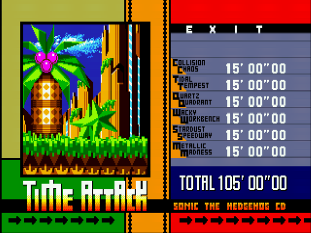 Sonic CD (european version) - Level Select  - Time Attack - User Screenshot