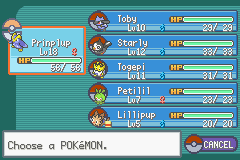 Pokemon - Yet Another Fire Red Hack - Menus Pokemon Team - My team after Mt Moon - User Screenshot