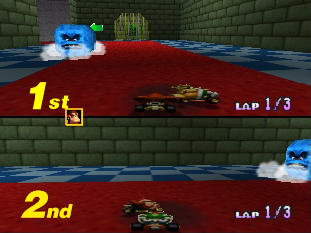 Mario Kart 64 - Misc Bowser Castle again - Squashed Bowser and Donkey Kong - User Screenshot