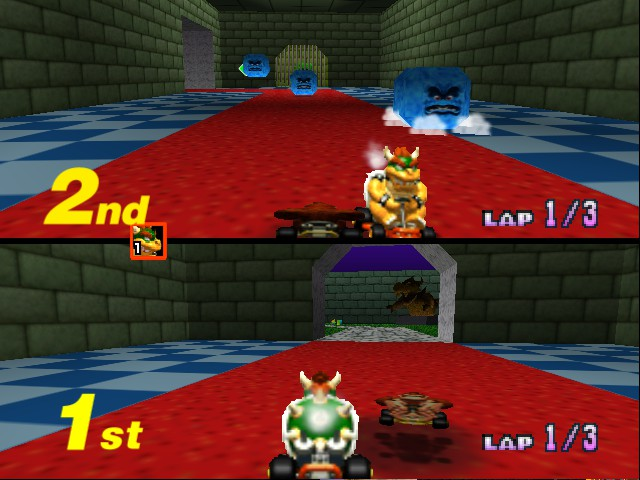 Mario Kart 64 - Level Bowser castle - floating DK - User Screenshot