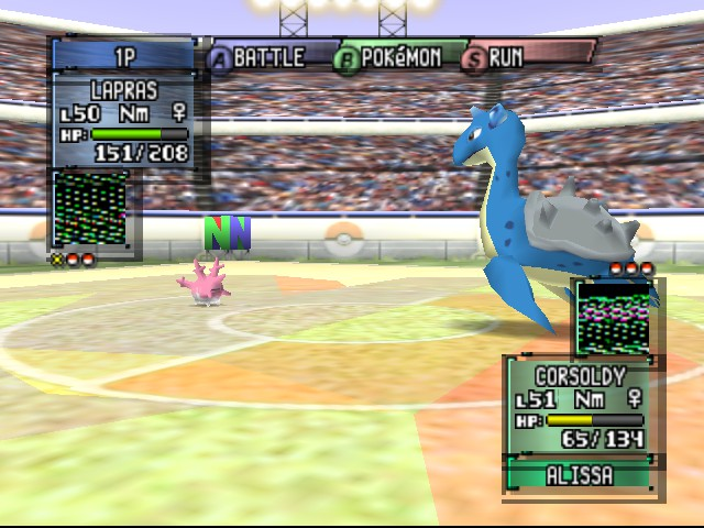 Pokemon Stadium 2 - Big and small...Lapras vs a tiny corsoldy - User Screenshot