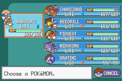 Pokemon Fire Red - Character Profile my team - my team at 8th gym - User Screenshot