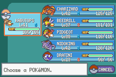 Pokemon Fire Red - Character Profile my team - my team after giovanni - User Screenshot