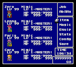 Final Fantasy V - Menus Pause Menu - YES!!!!!!!!!!!!!!!!!! - User Screenshot