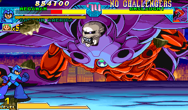 Marvel Vs. Capcom: Clash of Super Heroes (Euro 980123) - Battle  - This seems familiar to megaman. - User Screenshot