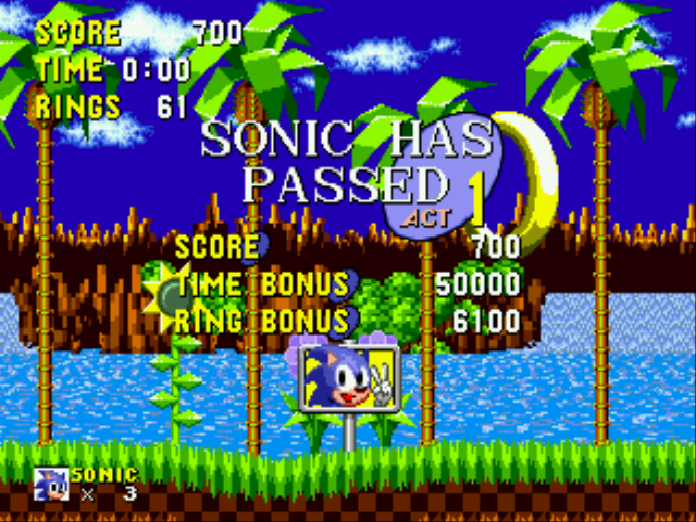 Sonic the Hedgehog - Beating a level with 0 time...? - User Screenshot
