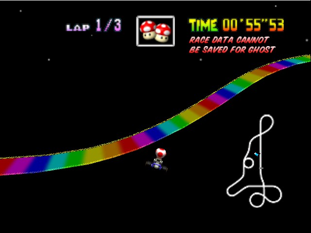 Mario Kart 64 - Level Rainbow Road - Quicker Way Of Getting Through :D - User Screenshot