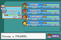 Pokemon Ash Gray (beta 3.61) - beat sabrina with this team - User Screenshot