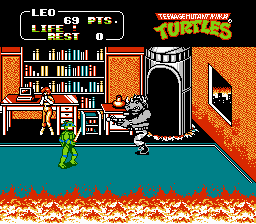 Teenage Mutant Ninja Turtles II - The Arcade Game - Battle  - ths is how much I got when I got to him :) - User Screenshot