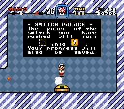 Super Mario World - Level Level 1 - Mario is standing on a cloud!!!  - User Screenshot