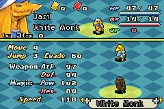 Final Fantasy Tactics Advance Anarchy - Character Profile Bangaa White Monk Stats -  - User Screenshot