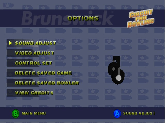 Brunswick Circuit Pro Bowling - Menus Options - Options Menu - User Screenshot