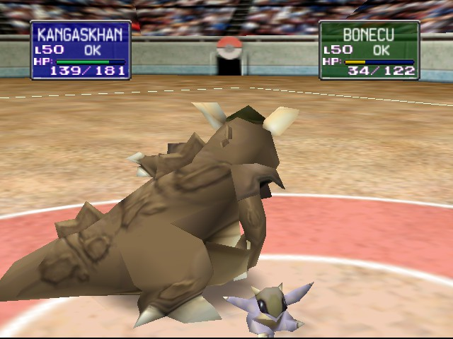 Pokemon Stadium - Battle  - What the heck is that baby Kangaskhan doing? - User Screenshot