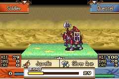 Fire Emblem - The Sacred Stones - Battle  - Why does that horse have horns? o_o - User Screenshot