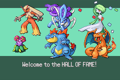 Pokemon Rebirth - Ending  - my team and small bellosem - User Screenshot