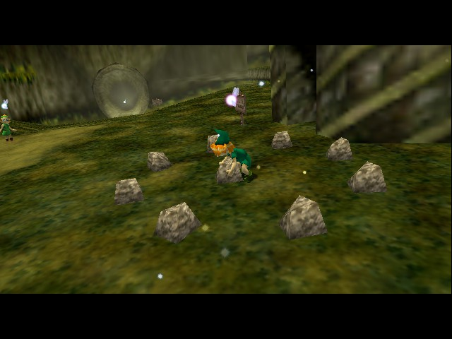 The Legend of Zelda - Ocarina of Time - Introduction  - Whats he doing to that rock? - User Screenshot
