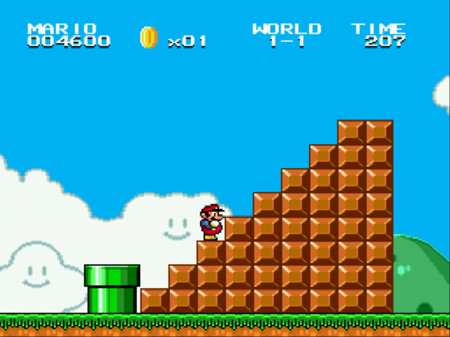 Super Mario Bros II 1998 (hack) - Hard block stairs and 1 pipe - User Screenshot