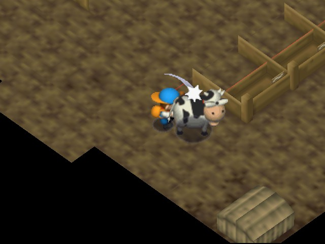 Harvest Moon 64 - Attacking sick cow with my hoe - User Screenshot