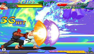 Marvel Super Heroes Vs. Street Fighter (Euro 970625) - Level Level 2 Arcade Mode - Double Hadoken!!!! - User Screenshot