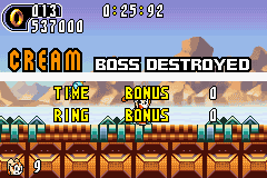 Sonic Advance 2 - look at my score :