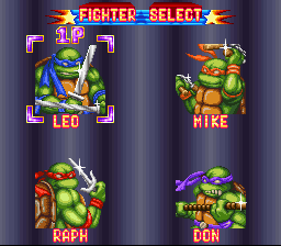 Teenage Mutant Ninja Turtles - Tournament Fighters - Character Select  -  - User Screenshot