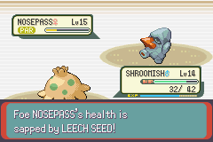Pokemon Emerald - Battle  - Nosepass is done for.... - User Screenshot