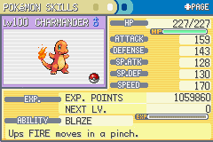 Pokemon Fire Red - Character Profile  - Lv.100 Charmander!!! yay! - User Screenshot