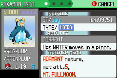 Pokemon Flora Sky - Character Profile  - Shiny Prinplup - User Screenshot