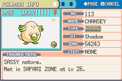 Pokemon Fire Red - Character Profile  - SHINY CHANSEY!!!!!!!!!!!!!!!!!!!!!!! - User Screenshot