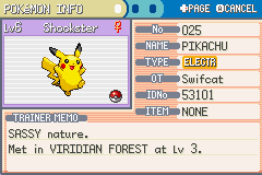 Pokemon Fire Red - Character Profile  - Got a pikachu! yay.... - User Screenshot