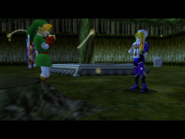 The Legend of Zelda - Ocarina of Time - Cut-Scene  - Link and zelda playing there instruments - User Screenshot