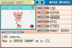 Pokemon Dark Rising - Character Profile lolwut - Glitched Shiny FTW - User Screenshot