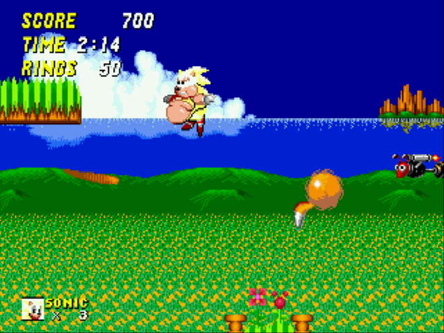 Sonic 2 XL - Level Green Hill Zone (Act 2) - FAT SUPAH SONIC! - User