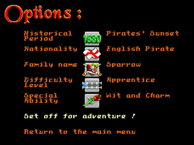 Pirates! Gold - Menus Options - Create Your Adventure! - User Screenshot