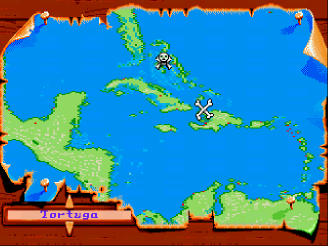 Pirates! Gold - World Map Actual map - Set Sail For Tortuga! - User Screenshot