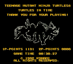 Teenage Mutant Ninja Turtles IV - Turtles in Time - Misc score - my best score for hard mode :D - User Screenshot